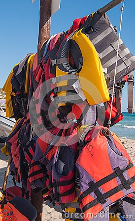 Two lines of life jackets