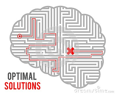 Brain intricacy optimal decision making solutions abstract labyrinth maze monochromatic geometric background design