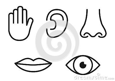 Outline icon set of five human senses: vision eye, smell nose, hearing ear, touch hand, taste mouth with tongue