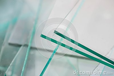 stock image of sharp sheet glass waste for recycle, waiting the transport