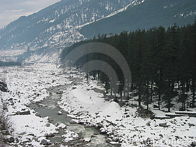 Snow lined Beas River near Manali India