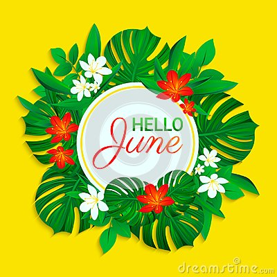 Hello June card. Summer tropic design. Exotic leaves, flowers. simple text. Vector background with round frame. Colored