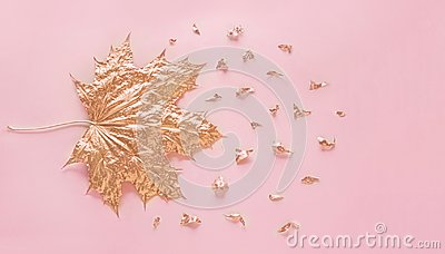 Autumn rose gold maple leaf with elements crumbs on pastel pink paper background. Minimal creative concept with space for text. To