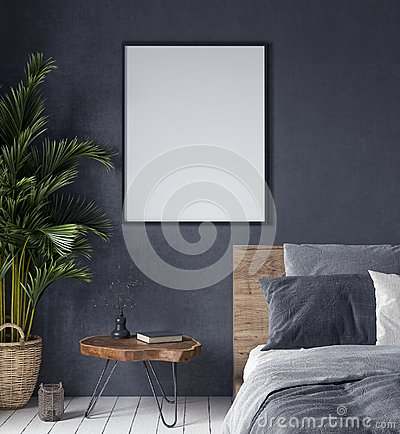Mock up poster in bedroom interior,ethnic style