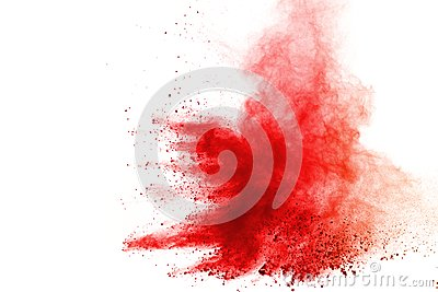 Abstract of red powder explosion on white background. Red powder splatted isolate. Colored cloud. Colored dust explode. Paint Holi