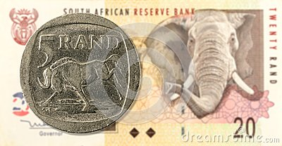 5 rand coin against 20 south african rand bank note obverse