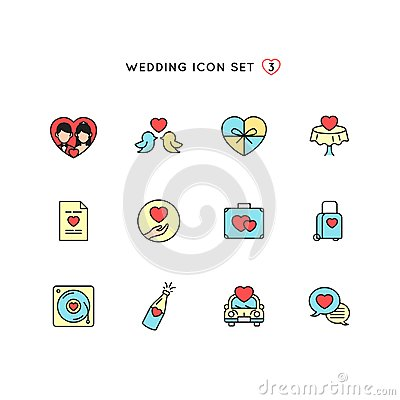 Wedding outline icon set. flat color object of marriage illustration with love symbol collection. monoline design perfect for digi