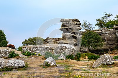 Scenic view of Brimham Rocks in the Yorkshire Dales