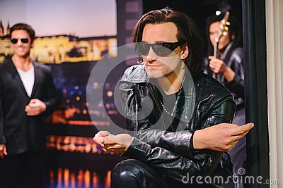 PRAGUE, CZECH REPUBLIC - MAY 2017: wax statue of musician, soloist of the group U2 Bono in a wax statue museum in the Czech Republ