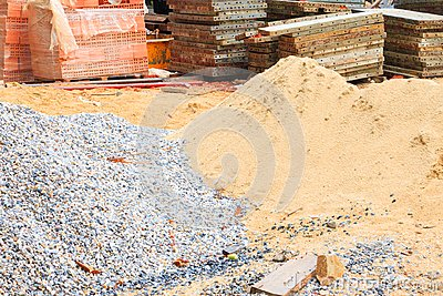 Sand and stone steel sheet pile in construction industry house renovate
