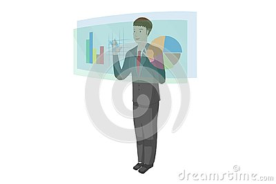 stock image of young man is using a hologram technology and touching screen has a graph chart data