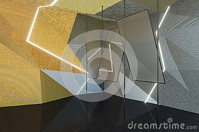 Abstract gray room with mirrors
