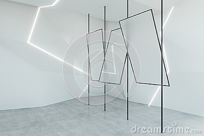 Abstract white interior with mirrors