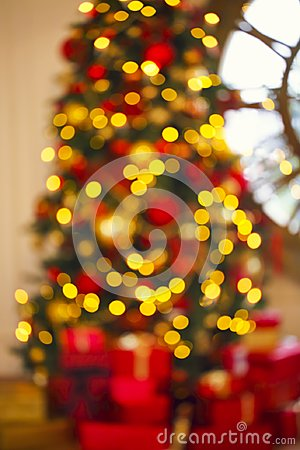 Abstract Christmas background with defocused lights