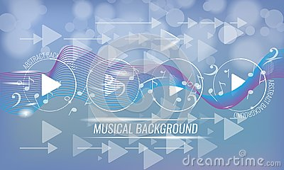 Abstract musical futuristic background with arrows and bokeh effect. Vector background. Blue color