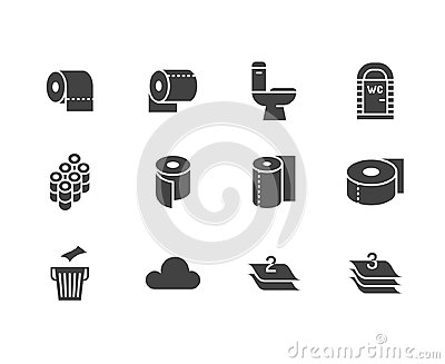 Toilet paper roll, towel flat glyph icons. Hygiene vector illustrations, mobile wc, restroom, tree layered napkin. Signs