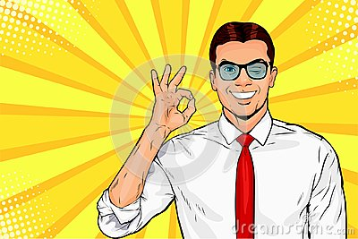 Male businessman in glasses winks and shows okay or OK gesture. Pop art retro vector illustration