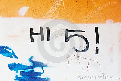Graffiti tag hi 5 written on grungy wall