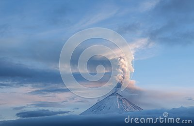 Volcanic ash on top of a volcano