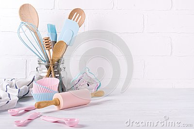 stock image of workplace confectioner, food ingredients and accessories for making desserts , background for text