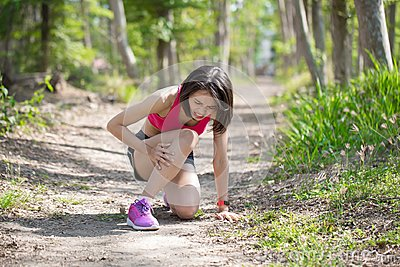 Sport woman with calf strain