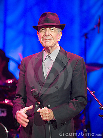Leonard Cohen performs on stage at Sportarena