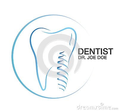 Dentist Dental Implant Teeth Vector Logo