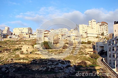 stock image of city of bethlehem. palestine. landscapes of exotic southern vegetation park areas and city views on a sunny, clear day.