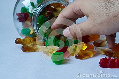 stock image of jelly candies in a jar