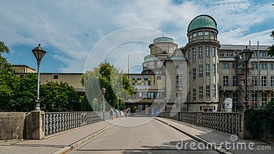 Entrance facade to the German Museum, Deutsches Museum, in Munich, Germany, the world`s largest museum of science and