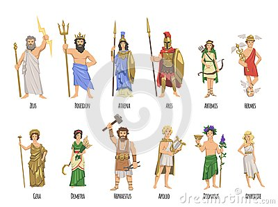 Pantheon of ancient Greek gods, mythology. Set of characters with names. Flat vector illustration. on white