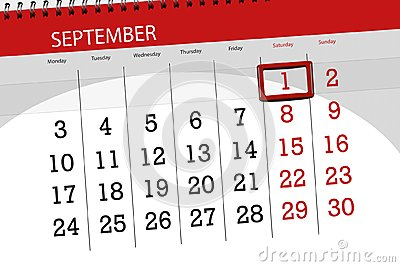 Calendar planner for the month, deadline day of the week, 2018 september, 1, Saturday