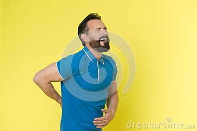 Pain concept. Senior man feel pain in back. Bearded man suffer from pain. I know real pain, copy space