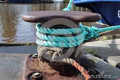 Nautical Rope Tied on Old Metal