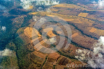 Aerial view Farmland in Tanzania, kraal of the Masai Tribe
