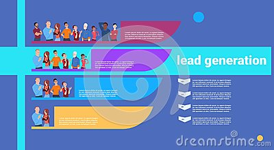 People lead generation steps stages business infographic. colorful diagram concept over white background copy space flat