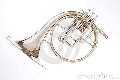 French horn Peckhorn Isolated on White