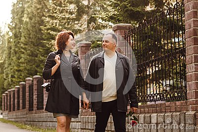 Middle-aged couple on walk
