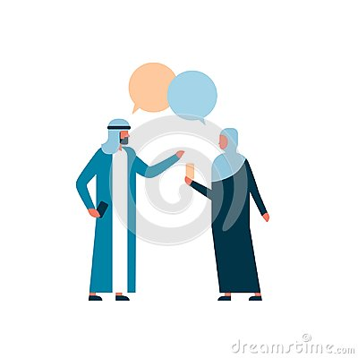 Arab couple business people combined chat bubble business negotiation communication concept man woman cartoon character