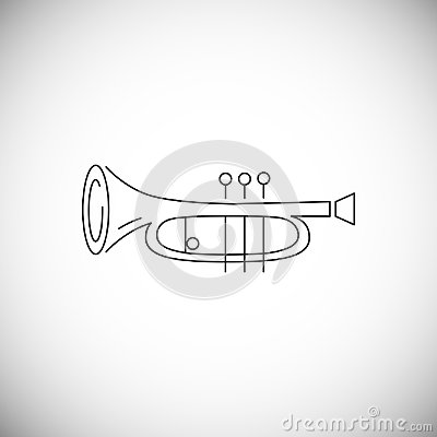 Cornet or horn icon isolated on white background.