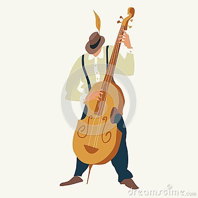 Contrabass player. Jazz or blues musician plays a contrabass. Vector illustration.