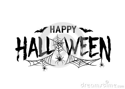Happy Halloween vector text banner. Silhouette holiday sign background