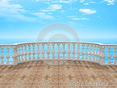 Semicircular balustrade with tile floor 3d rendering