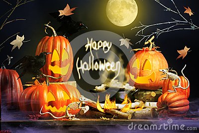 Halloween Greeting with Pumpkins and Skeleton Mice