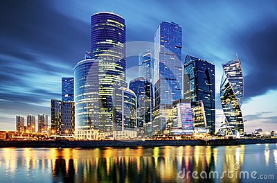 Moscow City skyline . Moscow International Business Centre at ni