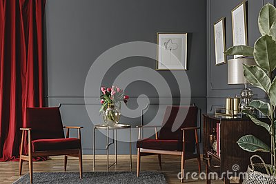 Two burgundy armchairs placed in grey living room interior with