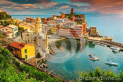 Fantastic Vernazza village with colorful sunset, Cinque Terre, Italy, Europe