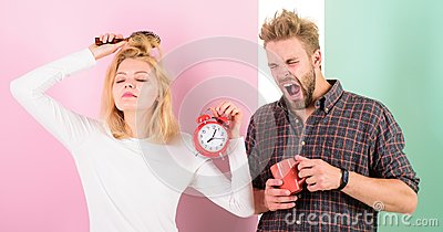 Create healthy rest regime to sleep enough. Regret late regime. We should go to bed earlier. Woman and man sleepy