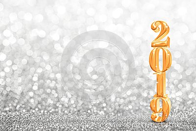 2019 golden new years 3d rendering at abstract sparkling bright