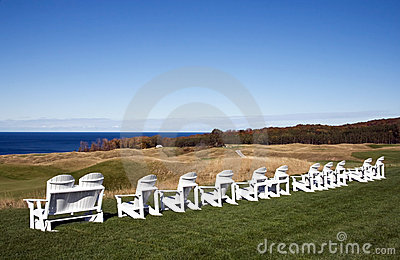 Adirondack chairs on Michigan golf course.
